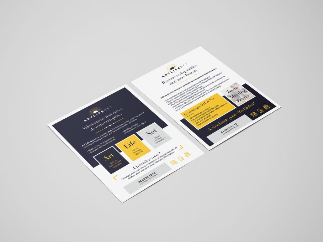 portfolio, realisation de flyer pour art life net, reseau d'entrepreneurs francais